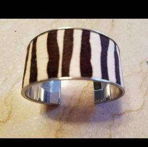 Chrome and faux zebra fur cuff bracelet